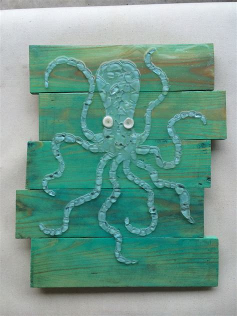 Sea Glass Home Decor by Real Sea Glass Art Octopus Wall Decor Sea Glass Mosaic By