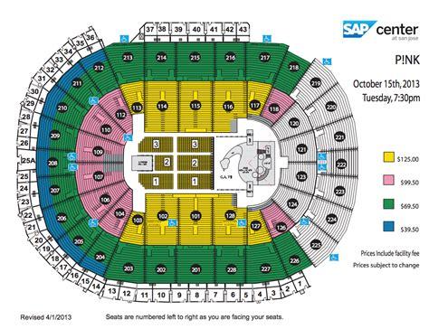 sap center seating chart p nk sap center