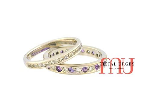 and purple sapphire 18ct white gold wedding rings
