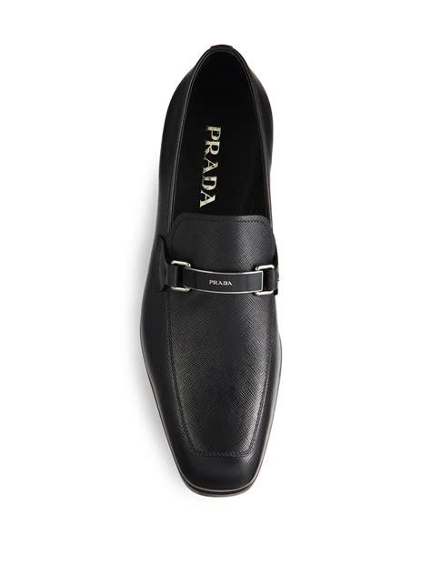 prada bit loafer prada saffiano logo bit loafers in black for lyst