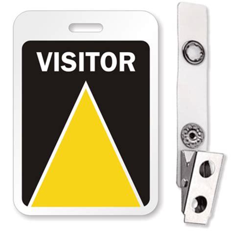 visitor pattern naming visitor id badge with bulldog clip reusable badge sku