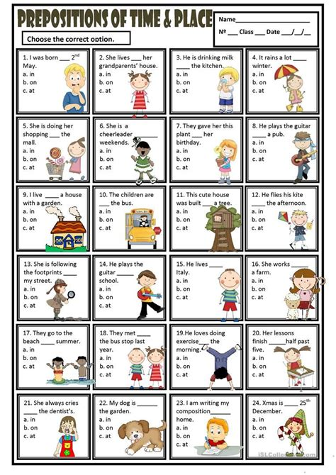 free printable english worksheets on prepositions prepositions of time and place in on at worksheet