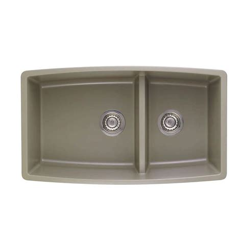 Shop Blanco Performa 19 In X 33 In Truffle Double Basin Blanco Granite Kitchen Sinks