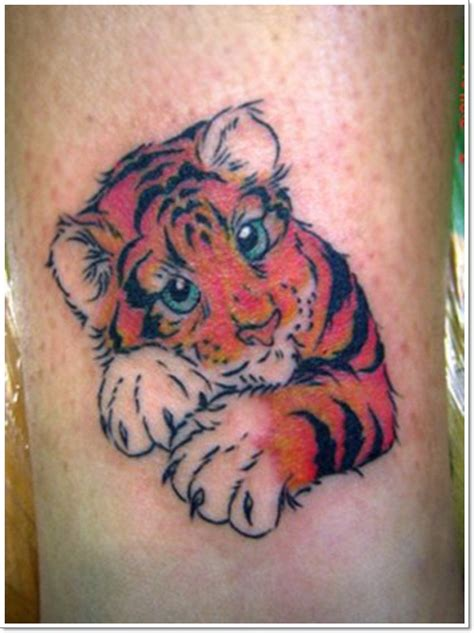 tattoo tiger cartoon sweet and cute little colored cartoon baby tiger tattoo on