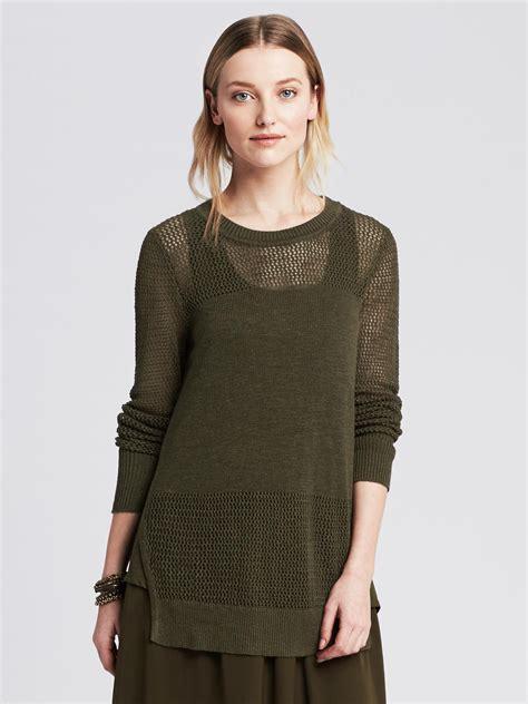 Sweater Hijacket Rasa Seaweed banana republic split side sweater in green seaweed lyst