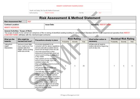 electricians risk assessment template risk and method statement for electrical rewire seguro
