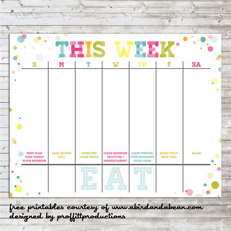 colorful weekly calendar free printable