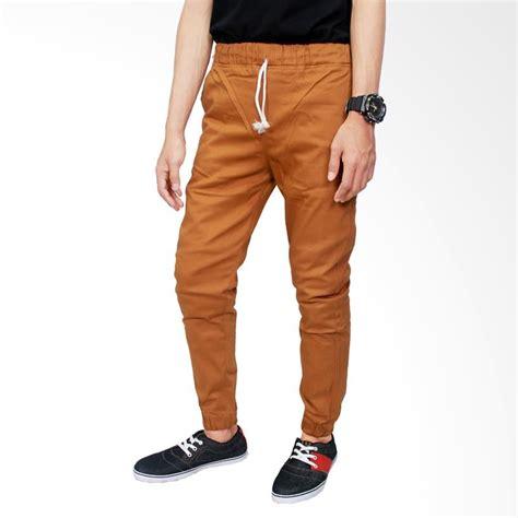 Celana Coklat Cowok gudang fashion jogger distro stretch coklat celana panjang pria