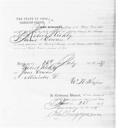 Richland County Ohio Marriage License Records Usgenweb Archives Hamilton County Ohio