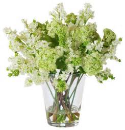 lilacs in glass vase white traditional artificial