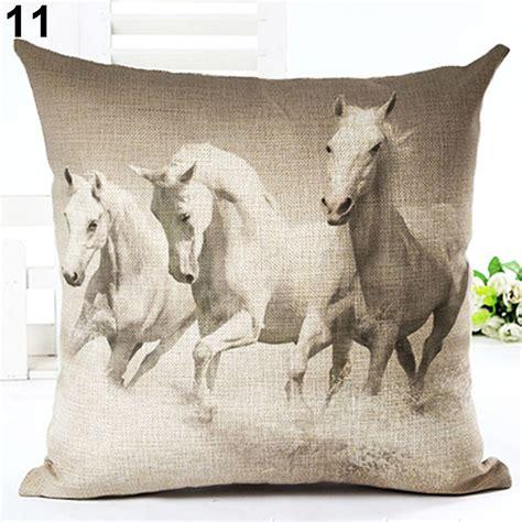 novelty home decor watercolor horse pillow cases cotton linen sofa cushion