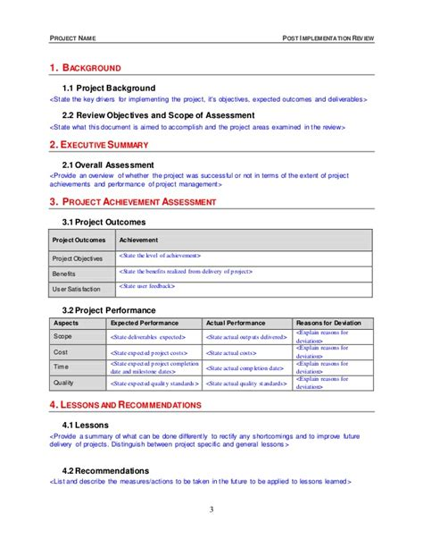 post implementation plan template post implementation review template