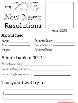 new year printable worksheets 2015 new year s resolutions worksheet for south