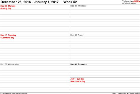 Calendar Printable Weekly 2017 Weekly Calendar 2017 Uk Free Printable Templates For Word