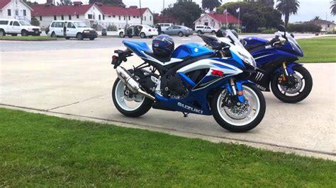 R6 Suzuki Suzuki Gsx R 600 And K9 Yamaha R6 Walk Around Shoei Helmet
