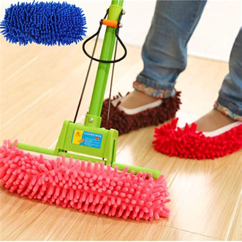 Microfiber Mop Shoes Harga Grosir multifunction microfiber chenille floor dust cleaning slippers mop wipe shoes wigs house home