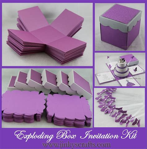 Wedding Invitation Box Kits purple silver exploding box w 3 tier cake invitation