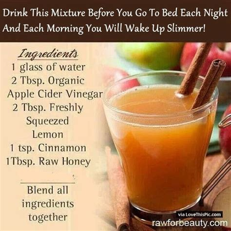 drinking apple cider vinegar before bed drink this mixture before you go to bed each night and