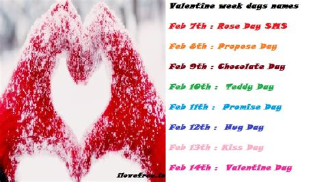 valentines day names week days schedule days name wise list to feb 14