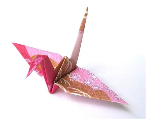 Folded Paper Cranes - japanese crane origami birds japanese kimono patterns