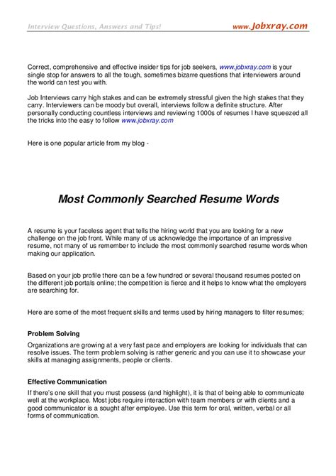 Resume Terms by Resume Terms Resume Work Template