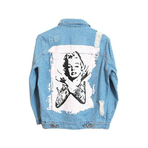 Washed Ripped Denim Jacket washed and ripped denim jacket with pink marilyn