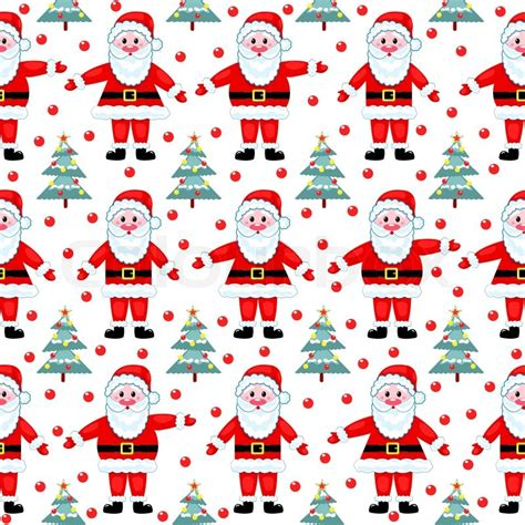 white xmas pattern santas seamless pattern on white vector christmas