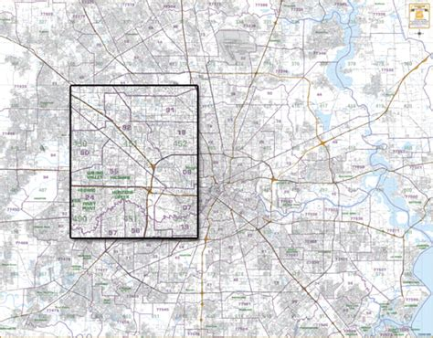 houston key map grid houston wall map with zip codes