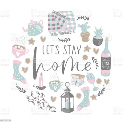 vector illustration  lets stay home lettering  cozy