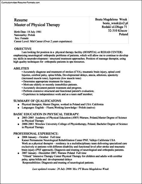 Physical Therapist Resume Template Free Sles Exles Format Resume Curruculum Vitae Therapist Cv Template