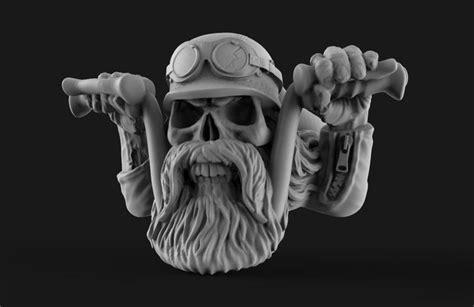 biker skull ring  printable model cgtrader