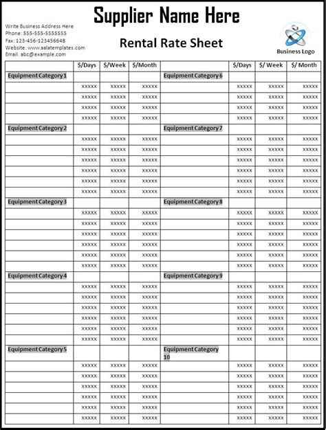 rate sheets templates rate sheet template page word excel pdf