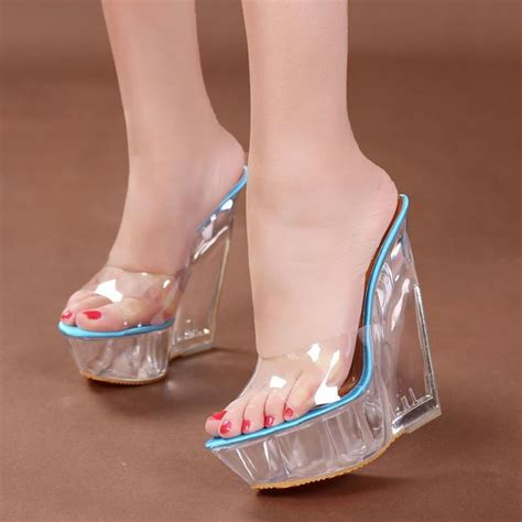 Sandals With Heels For by Womens High Heel Wedge Platform Open Toe Slipper Loafer Clear Sandal Shoes Cool Sandals