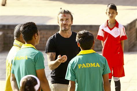 david beckham charity biography david beckham takes on local youngsters in nepal charity