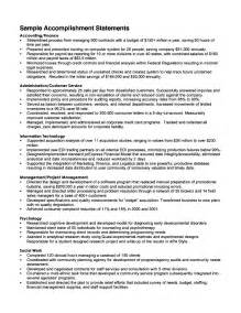 Achievement Exles For Resumes by Resume Accomplishment Statements Exles
