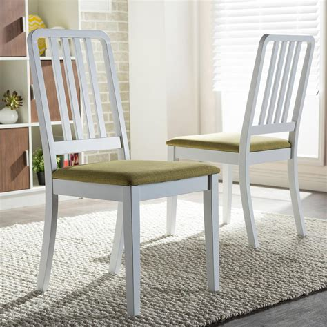 white fabric dining chair with back and double arms also home styles rubbed white wood double x back dining chair