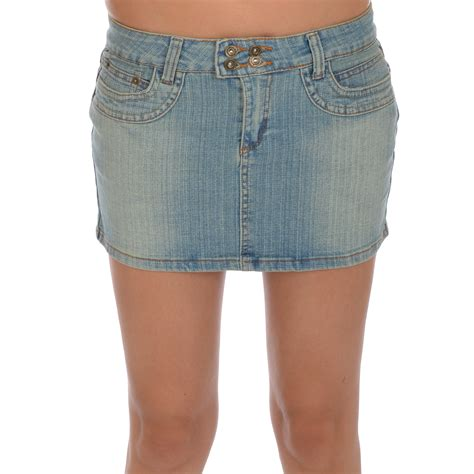 miss posh womens faded denim jean mini skirt