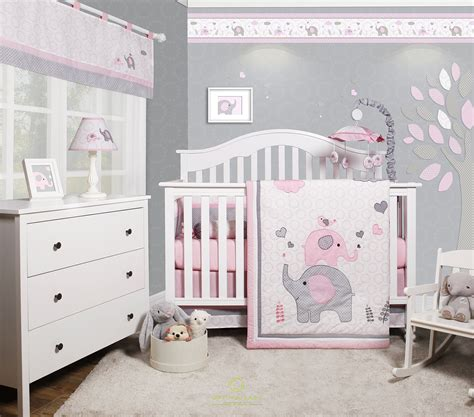 just born musical mobile grey pink elephants