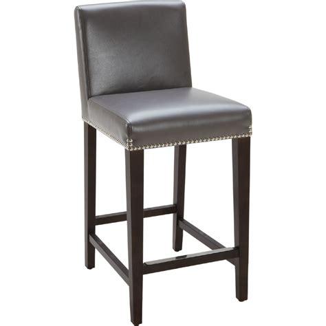gray leather counter height stools sunpan 38408 counter height stool in grey leather w