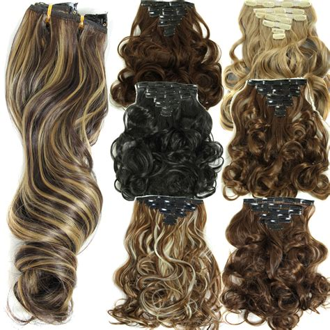 hair extension clips 160g 7pcs set clips in hair extension long curly fake hair