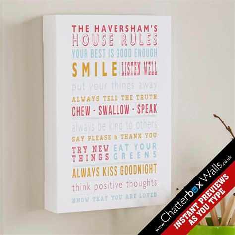 family house rules framed print personalized word art gifts for the home chatterbox walls