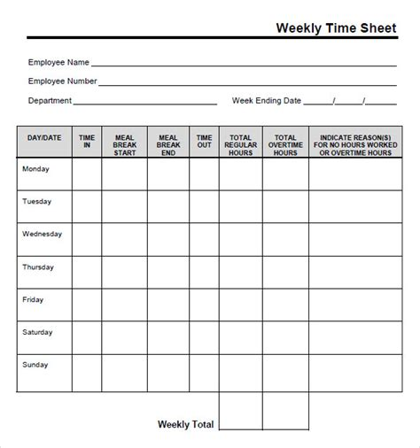 blank timesheet template 9 free sles exles format