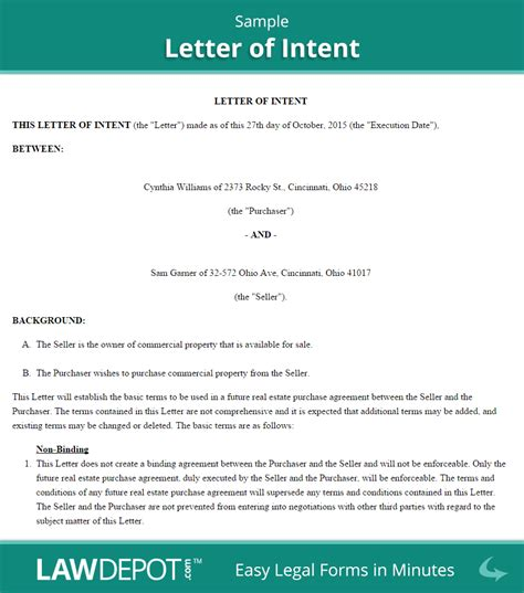 Letter Of Intent Development Agreement Letter Of Intent Form Free Loi Template Us Lawdepot