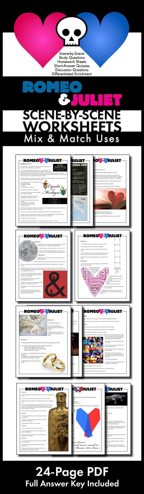 romeo and juliet themes quiz romeo juliet worksheets quizzes homework discussion for