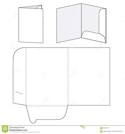 pocket folder template illustrator blank folder template stock vector image 65414777