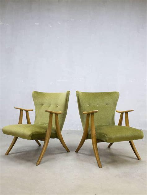 fauteuil sixties velours midcentury modern velvet wingback chair vintage velours