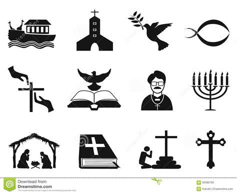 clipart religiose black christian religious icons set stock vector