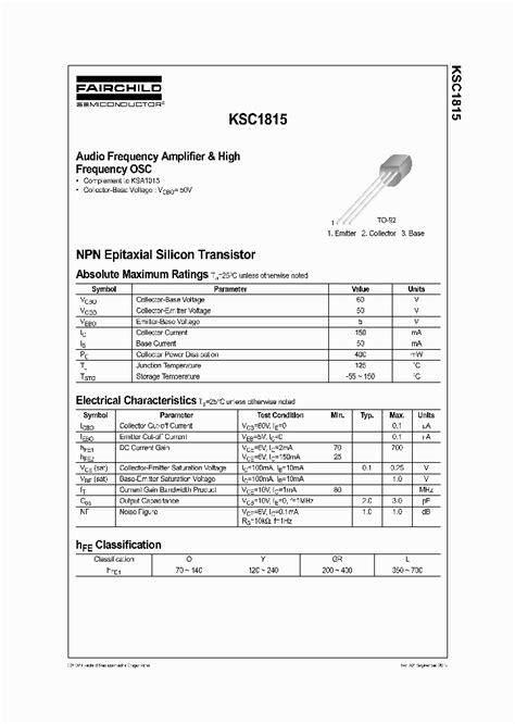 datasheet transistor c1815 c1815 262692 pdf datasheet