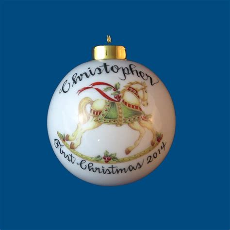 personalized hand painted christmas ornament with rocking