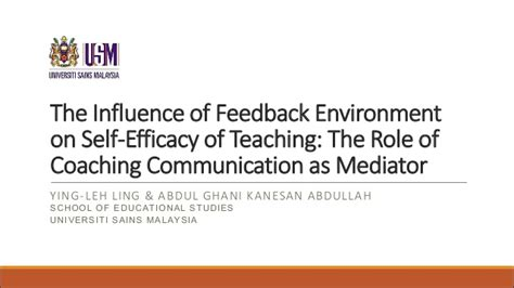 Self Efficacy In Based Learning Environments A Literature Review by The Influence Of Feedback Environment On Self Efficacy Of Teaching T